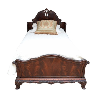 Rococo Style Carved Mahogany Twin Bed, Mid-20th Century
