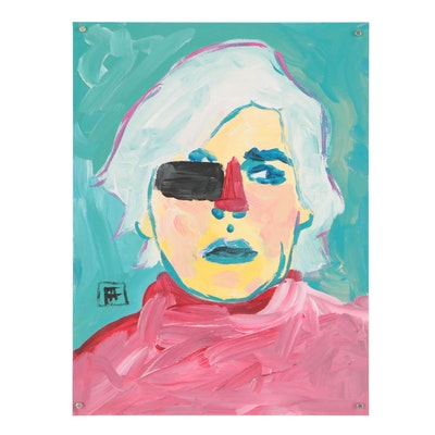 "Francois Aguiard Abstract Acrylic Painting ""Andy Warhol"""