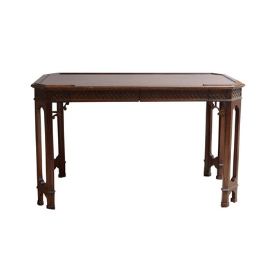 Carved Mahogany Library Table, Mid-20th Century