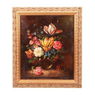 Elias Jozsa Kataling Floral Still Life Oil Painting
