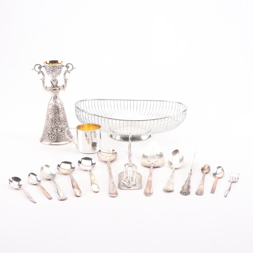 Silver Plate Serveware, Marriage Cup, and Children's Dinner Set