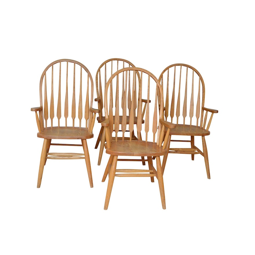 Four Oak Parsons Chairs, Late 20th Century