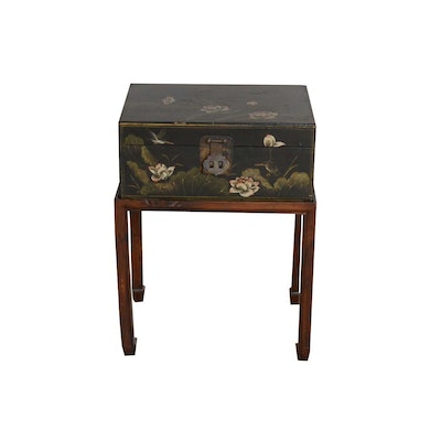 Asian Painted Trunk on Stand, Late 20th Century