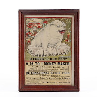 International Stock Food Pig Feed Chromolithograph Advertisement Broadside