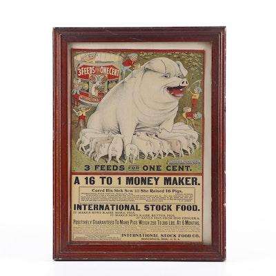 International Stock Food Pig Feed Chromolithograph Advertisement Broadside