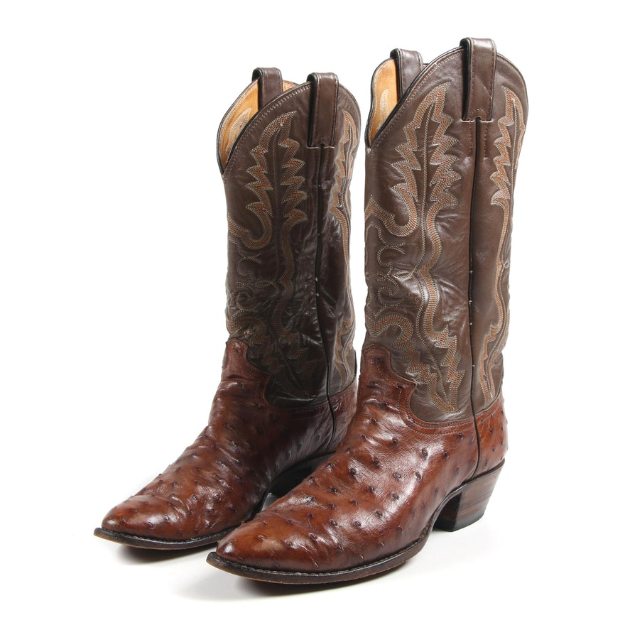 d579a9db072 Men's Justin Full Quill Ostrich and Leather Cowboy Boots | EBTH