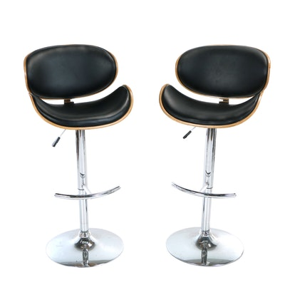 Pair of Minson Corp., Bentwood and Chromed-Steel Adjustable Swiveling Bar Stools