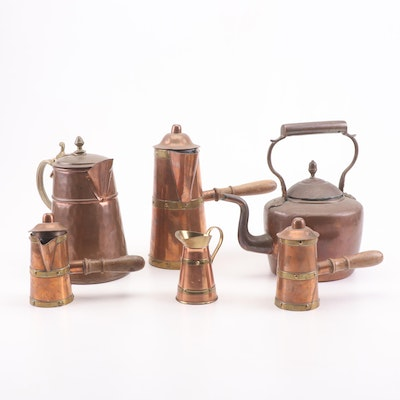 Copper and Brass Tea Kettles and Pitchers