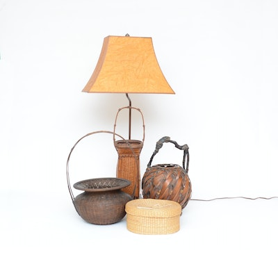 Japanese Basket Table Lamp and Baskets