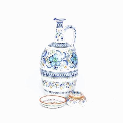 Hand-Painted Faïence Spanish Sevilla Serveware and Trinket Box