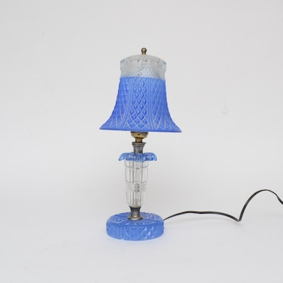 Blue and Colorless Cut Glass Boudoir Lamp, Early 20th Century
