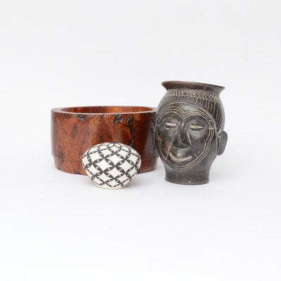 Marcella Augustine Acoma Vase with African Style Head Vase and Burled Wood Bowl