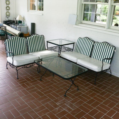 Woodard Cast Aluminum Patio Loveseats and Glass Top Tables