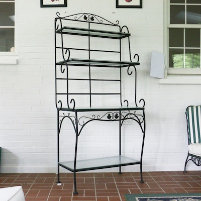 Contemporary Metal Patio Bakers Rack with Glass Shelves