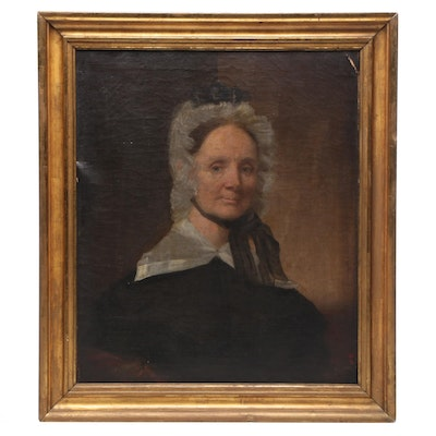 19th Century Portrait of a Woman Oil Painting