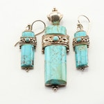 Sterling Silver and Turquoise Pendant and Dangle Earrings