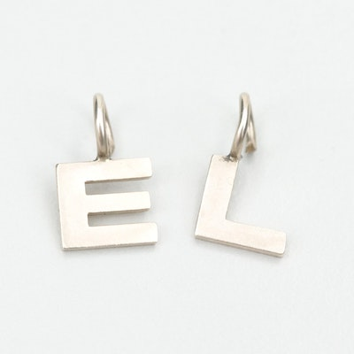 "14K White Gold ""L"" and ""E"" Pendants"