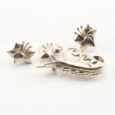Sterling Silver Flower Brooch and Earrings