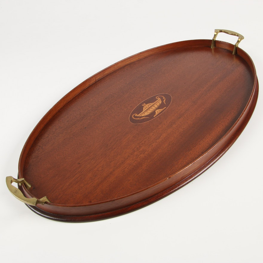 Mahogany Marquetry Tray with Brass Handles