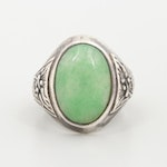 Sterling Silver Jadeite Ring with Dragon Motif