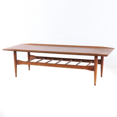 Modernist Walnut and Walnut-Stained Coffee Table, Mid 20th Century