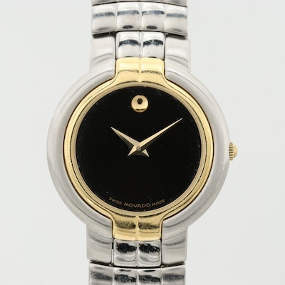 Movado Museum Piece Stainless Steel and 18K Yellow Gold Wristwatch
