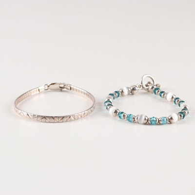 Sterling Silver and Glass Bead Bracelets