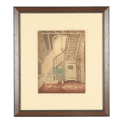 "20th Century Etching ""Ursuline Row House Staircase"""