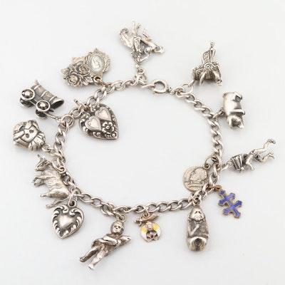 Vintage Sterling Silver Charm Bracelet with Enamel Accents