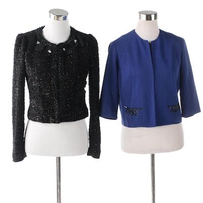 Embellished Black and Blue Crop Jackets Including Roem