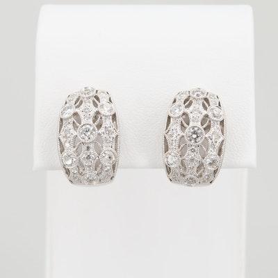 18K White Gold 1.43 CTW Diamond J-Hoop Earrings