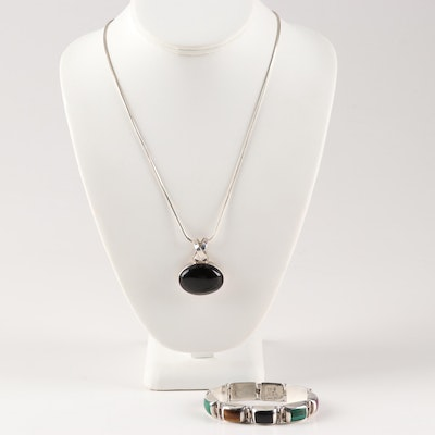Sterling Silver Black Onyx Pendant Necklace and Multi-Gemstone Bracelet