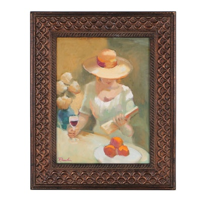 "Sally Rosenbaum Figural Oil Painting ""My Afternoon"""