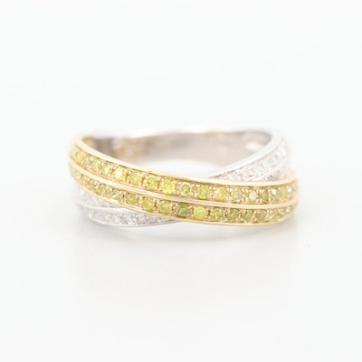 10K White Gold Diamond Crossover with 10K Yellow Gold Ring