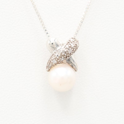 Sterling Silver Cultured Pearl and Diamond Pendant Necklace