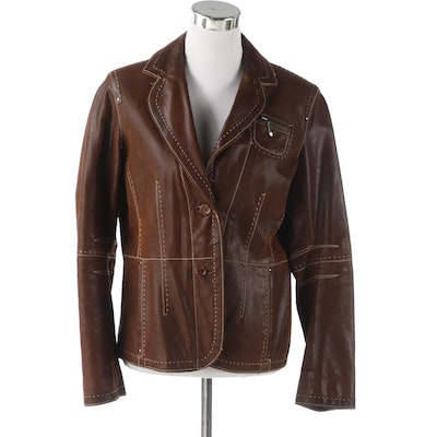 Women's Linea Selecta Jacket in Distressed Leather with Contrast Stitching