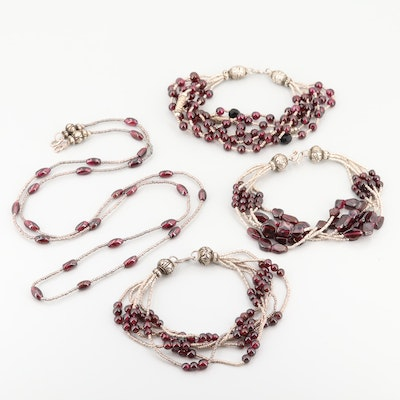 Silver-Tone Glass and Garnet Beaded Necklace and Multi-strand Bracelets