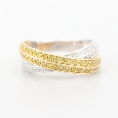 10K White Gold with 10K Yellow Gold Diamond Crossover Ring