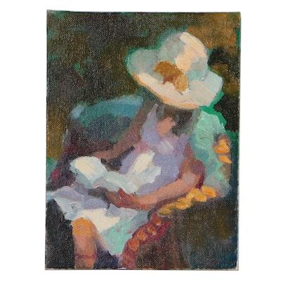 "Sally Rosenbaum Figural Oil Painting ""Garden Solitude"""