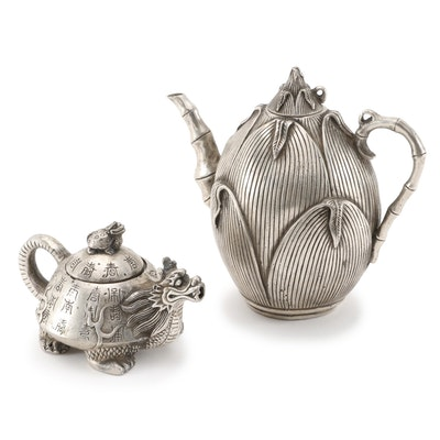 Chinese Lotus Form and Dragon Motif Teapots, Republic Period