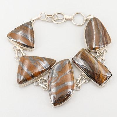 Sterling Silver Tiger Iron Bracelet