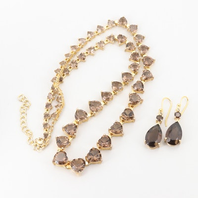 Gold Wash on Sterling and Gold Tone Smoky Quartz Heart Necklace and  Earrings