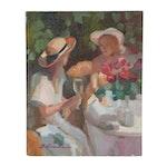 "Sally Rosenbaum Figural Oil Painting ""Two Sisters"""