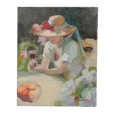 """Sally Rosenbaum Figural Oil Painting """"Summer Moment"""""""