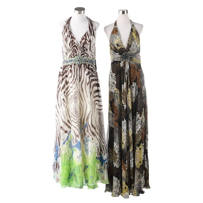 Basix Black Label and Donna Ricco Collection Embellished Silk Halter Gowns