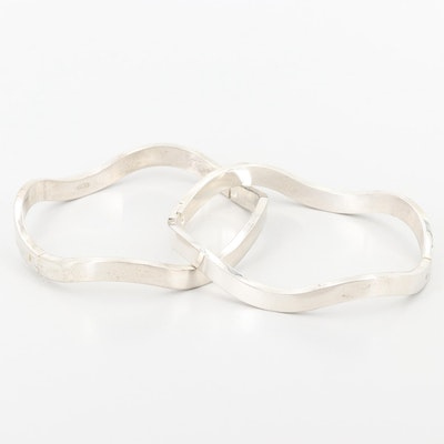 Sterling Silver Two Contoured Bangle Bracelets