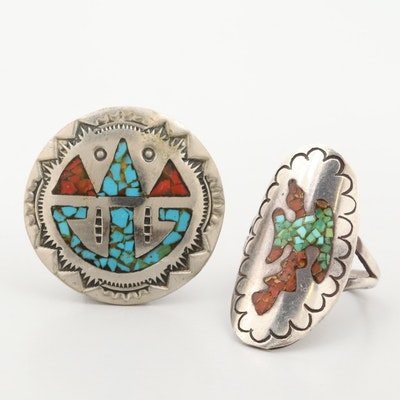 Southwestern Style Sterling Turquoise and Coral Ring with Silver Tone Pendant