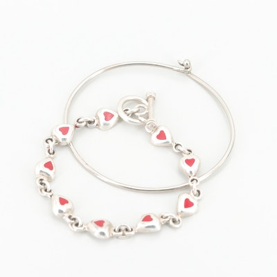 Sterling Silver Bangle Bracelet and Resin Heart Link Bracelet