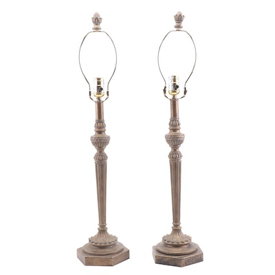 Bronze Finish Neoclassical Style Table Lamps, Contemporary