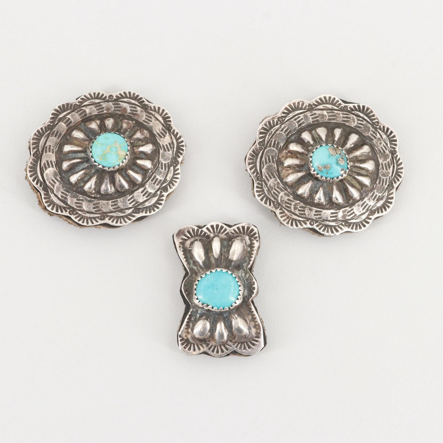 Southwestern Style Sterling Silver Turquoise Concho Belt Stations